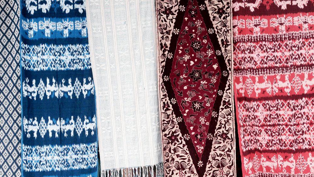 Textiles outside a Bali souvenir shop
