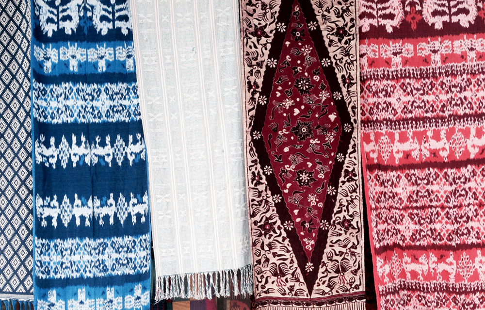 Textiles outside a Bali souvenir shop