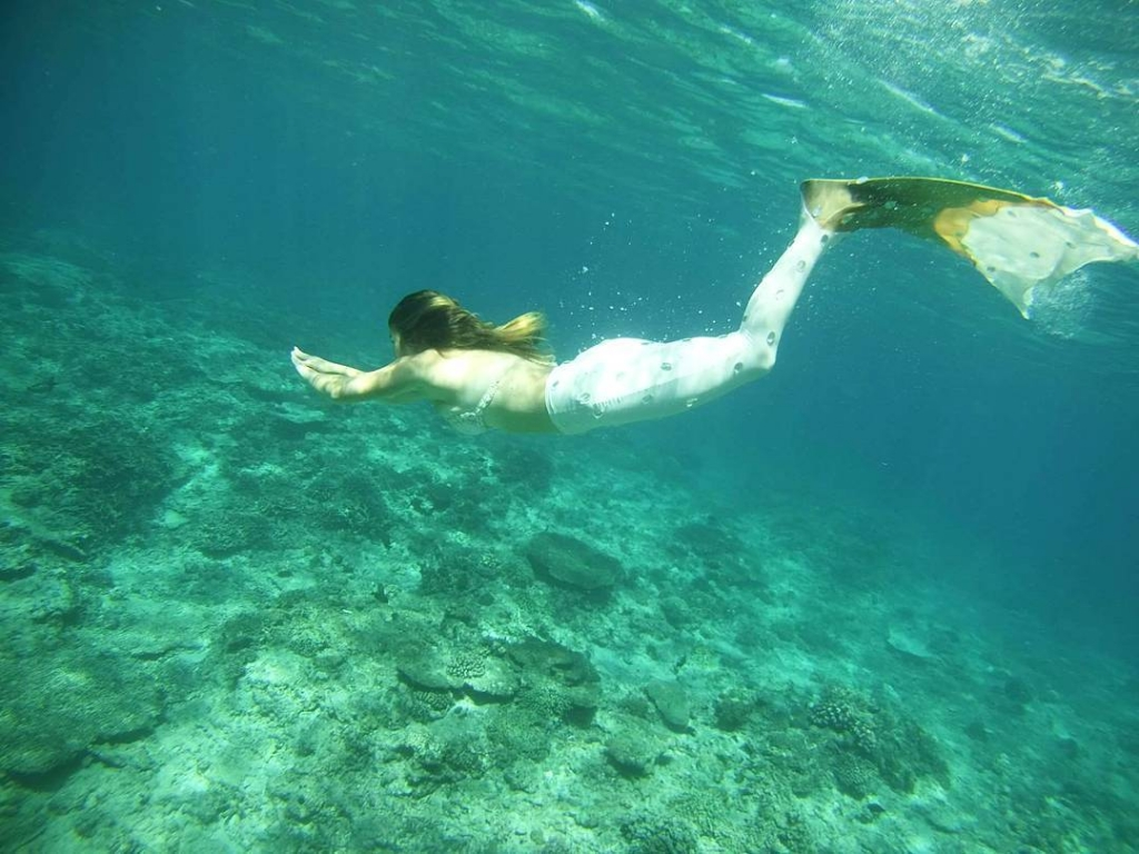 Island Mermaids Swimming with a Green Mermaid Tail in Bali
