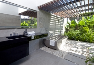 Issi Seminyak Villa Black and white Bali bathroom