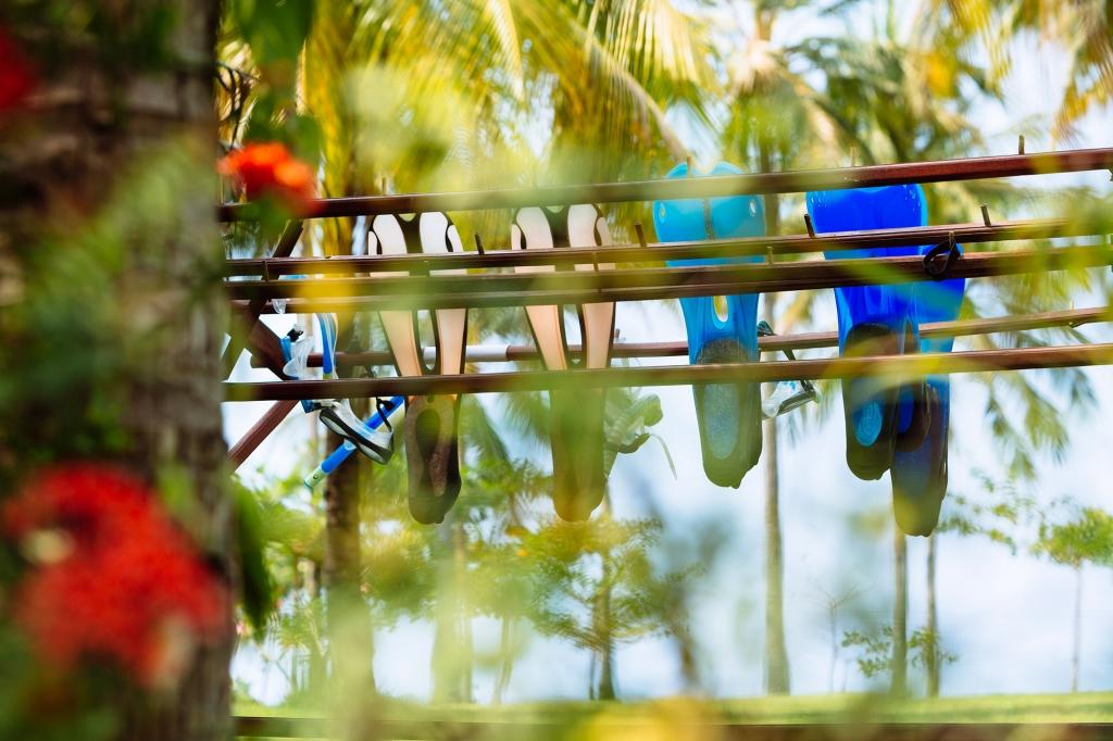 Snorkel masks at The Anandita villa on Sira Beach Lombok