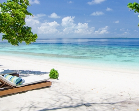 Comfortable loungers at Maldives beach