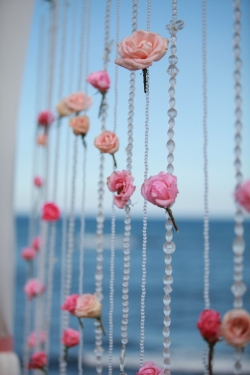 hanging beads with pink flowers