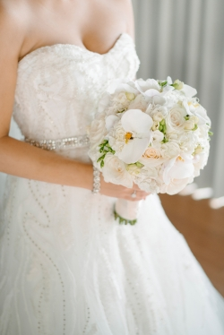 white orchid bride bouquet