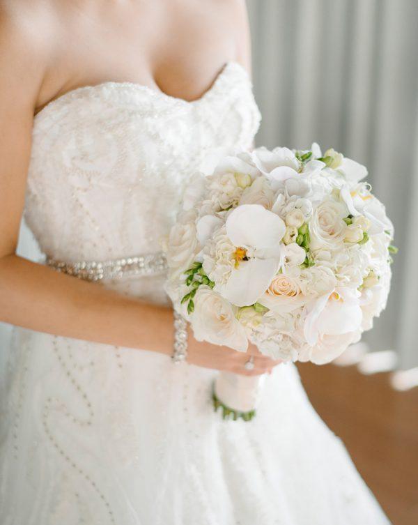 white orchid bride bouquet