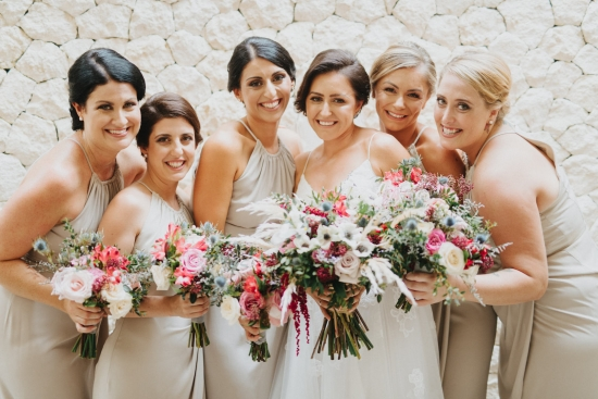 pink and white wedding bouquets with roses, tulips and lily of the incas