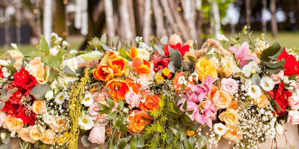bright wedding flowers in Bali