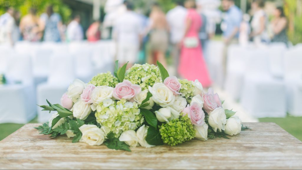Pink and white roses with green hydrangea
