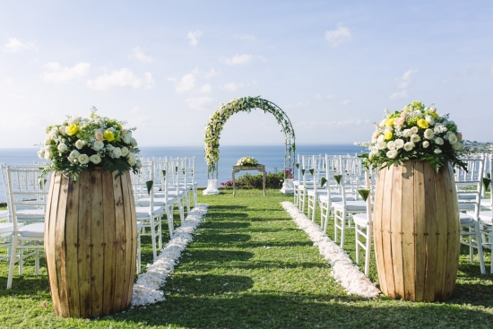 Yellow and white wedding ceremony
