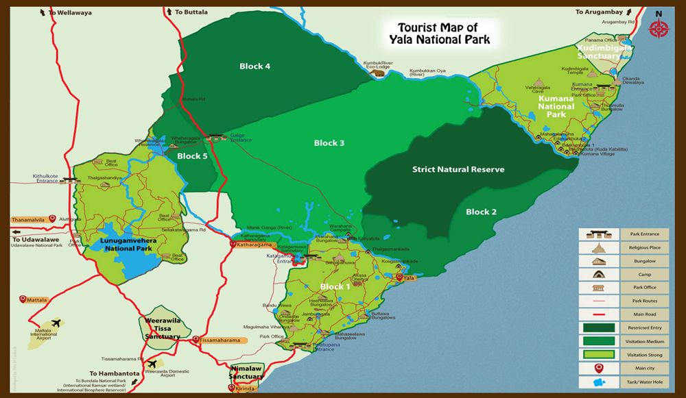 Tourist map of Yala National Park Sri Lanka